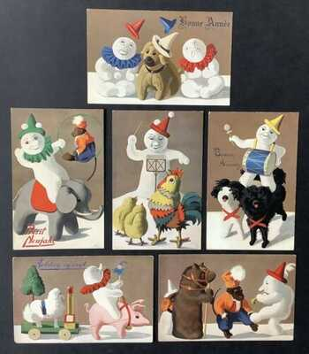 "Tuck New Year Snowman Postcards (6) Series 306 ""Snowman Pastimes""~Super Cute!"