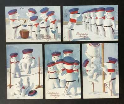"Vintage Tuck New Year Postcards(5)Series 826""Landsturm Third Contest"" Fialkowska"