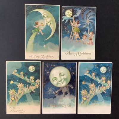 Vintage New Year Postcards (5) Man-In-The-Moon, Cherubs, Animated Stars-Lovely!