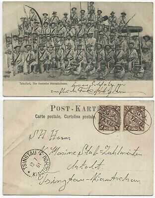CHINA 1901 USED PICTURE POSTCARD GERMAN STORM TROOPERS AT TAKU FORT