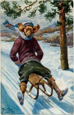 Very Rare Arthur Thiele Fantasy Dressed Dog - Sledding Dachshund