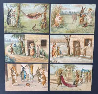 Vintage Fantasy Postcards (6) Maurice Boulanger ~ Fabulous Animated Rabbits!