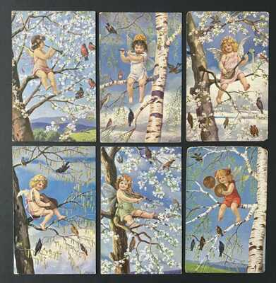 Vintage Fantasy Postcards (6)Artist Signed Mailick~Musical Cherubs, Spring Trees