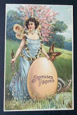 Vintage Easter Fantasy Postcard ~ Winged Fairy, Butterfly, Snail ~Beautiful Card