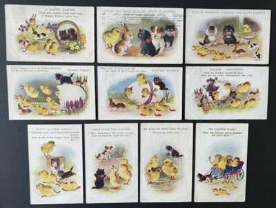 "Vintage Easter Fantasy Postcards (10) ""Comique"" Cats 5000 Series~Cats and Chicks"