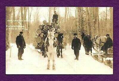 1914 RPPC LOGGING SCENE SLEIGH ROADS OTSEGO GAYLORD MICHIGAN