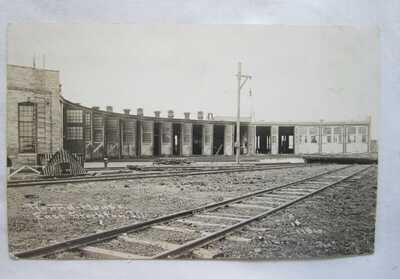VINTAGE EAST STOCKTON IL RPPC RP REAL PHOTO POSTCARD RAILROAD TRAIN ROUND HOUSE