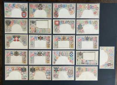 Ottmar Zieher Stamp/Coat of Arms Postcards (103) Nicely Embossed ~See All Photos
