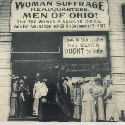 Antique & Rare Women's Suffrage Postcard, Men Of Ohio Headquarters 1911