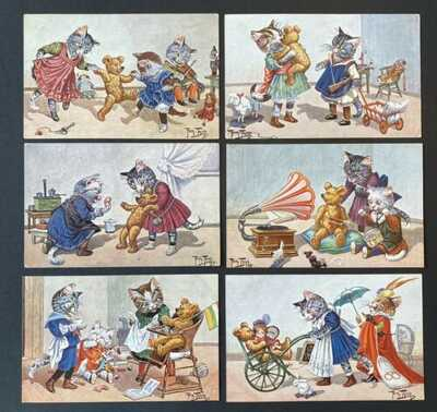 Vintage Artist Signed Thiele Cat Postcards (6) Series 474 ~ Cats, Teddy Bears