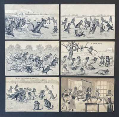 Vintage Artist Signed Wain Cat Postcards (6) Cats Playing Sports, Sepia Tones