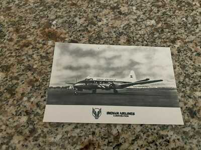 Indian Airlines DH 114 Heron at the airport old colors airline issued postcard