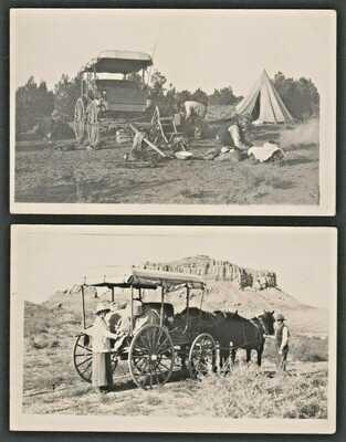 RPPC Postcard Camp Wagon at Red Mesa & Camp Near Hopi Shongopovi Pueblo