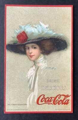 "Vintage Coca-Cola Advertising Postcard ""The Coca-Cola Girl"" Hamilton King ~ Rare"