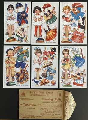 """Vintage Tuck """"Dressing Dolls"""" Postcards (6) Series IV #3384 ~ Nat'l Paper Dolls"""