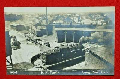 RPPC Long Pine, Nebraska - railroad yards - unused - Halldorson photo -EXCELLENT