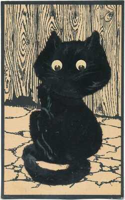 Halloween Mechanical Postcard - Felt Black Cat with Springy Head  SUPER RARE!
