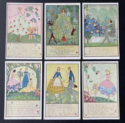 Vintage Nursery Rhyme Postcards (6) A/S Joyce Mercer ~ Faulkner Series 1960