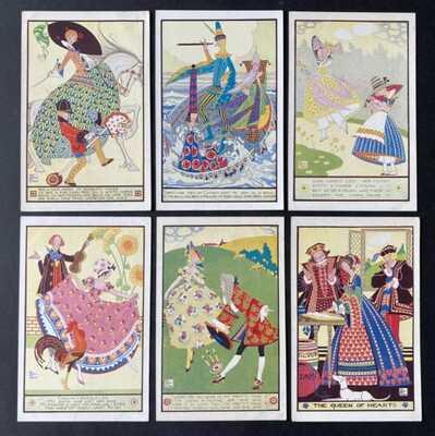 Vintage Nursery Rhyme Postcards (6) A/S Joyce Mercer ~ Faulkner Series 1896