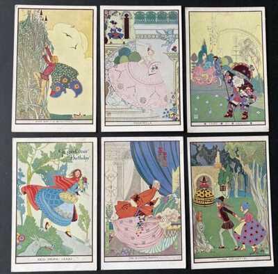 Vintage Fairy Tale Postcards (6) A/S Joyce Mercer ~ Faulkner Series 1959