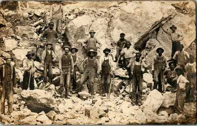 RPPC 1912. BLACK MINERS , SPRING CITY, TN. MINING SITE.  POSTCARD LK12