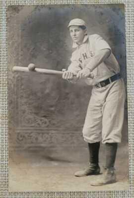 RPPC Fairbury Nebraska NE Baseball Player Bat Trick Photographer Studio Postcard