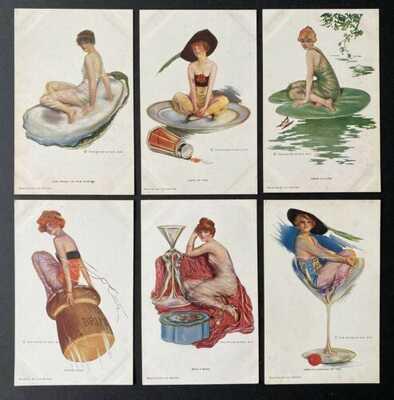 Vintage Glamour Girl Postcards (6) Lou Mayer ~ R&N Series 883-878 ~Great Fantasy