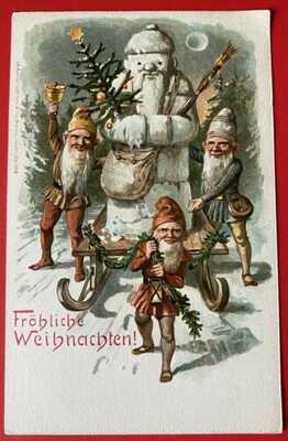 Vintage Snow Santa Claus Postcard ~ Snow Santa on Sled w/Elves ~ SO Fun!