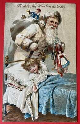 Vintage Santa Claus Postcard ~ Santa In White Robe Visits Sleeping Child