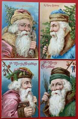 Vintage Santa Claus Postcards (4) Portraits, Various Robe Colors, Nice Embossing
