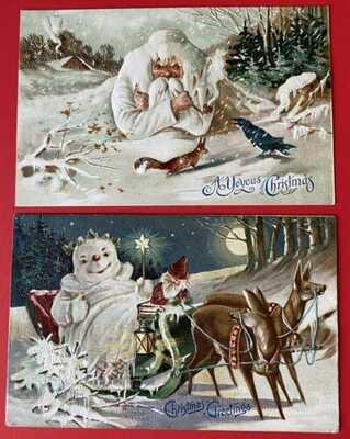 Vintage Fantasy Santa Postcards (2) Santa in Snow, Snowman in Sleigh ~Series 598