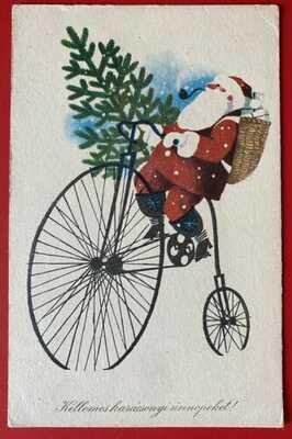 Vintage Hungarian Santa Postcard ~ Santa Rides on High Wheel Bicycle ~ Cute!