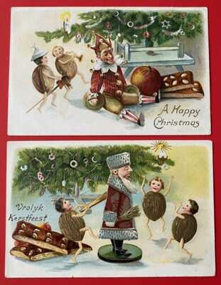 Vintage Fantasy Christmas Postcards (2) Animated Walnuts Dance With Toys