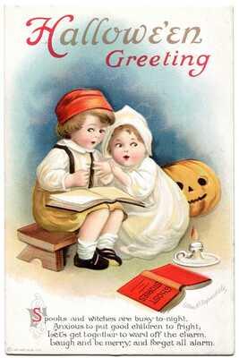 VTG Ellen Clapsaddle Signed Halloween Little Girls Ghost Stories Postcard