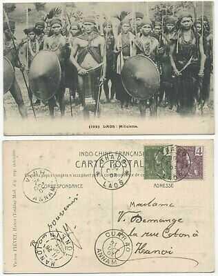 LAOS FRENCH INDO CHINA 1907 USED PPC LOCAL MILITIA