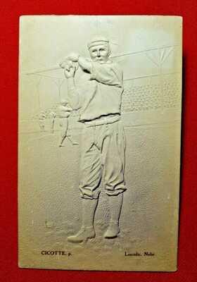 Antique BASEBALL batter embossed postcard - Lincoln, Nebraska - Cicotte - unused