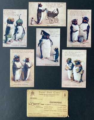 """Vintage Tuck """"Guinnipens"""" Postcards ~ Set of 6 ~ A/S G.M. Hudson ~ Great Fantasy"""