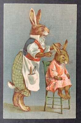 Vintage Nister Dressed Rabbits Postcard ~ No. 330 ~ Rabbit Gives Girl a Haircut
