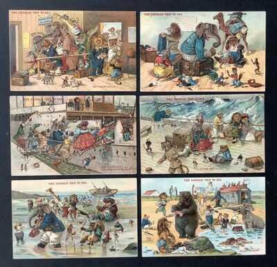 "Vintage Dressed Animal FantasyPostcards(6)""The Animals Trip To Sea"" G.H.Thompson"