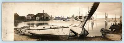 Nantucket, MA - HARBOR & BOATS - RARE 10 in. PANORAMA RPPC - GARDINER ART PHOTO