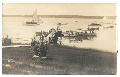 612     1914 RPPC Photo Postcard Pier & Boats Squirrel Island Boothbay Harbor Me