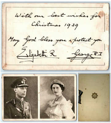 Raphael Tuck George VI & Queen Elizabeth Queen Mother Signed Christmas Card 1939