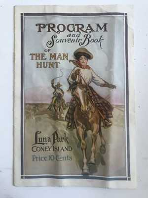 Rare Luna Park Souvenir Book The Man Hunt 1908 Coney Island