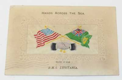 WOVEN IN SILK NOVELTY PC, RMS LUSITANIA, CUNARD LINE FLAGS & HANDS FIRST VOYAGE