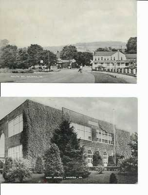 VTG. MADERA PA. HIGH SCHOOL & ROUTE 53 TRAIN X POSTCARDS-CLEARFIELD COUNTY PA.