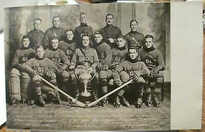 The 61st Overseas Battalion 1916 Allen Cup Hockey Champions Photo Post Card