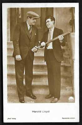 1920's Ross Verlag Postcard – Babe Ruth / Harold Lloyd