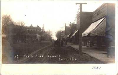 RPPC - Cuba, IL - North Side Square - 1907