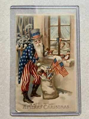 Rare Original Antique Patriotic Uncle Sam Santa Claus Merry Christmas Postcard