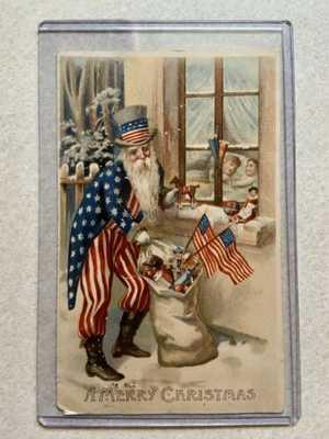Rare Original Antique Patriotic Uncle Sam Santa Claus Merry Christmas Postcard
